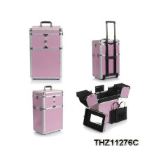 2014 new design aluminum rolling beauty case with multi-colors selection