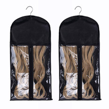Non woven Foldable Hair Extensions Storage Bag with Hanger Carrier Case Protection for Daily Use & Travel