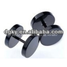 Black round bottom stainless steel ear piercing studs