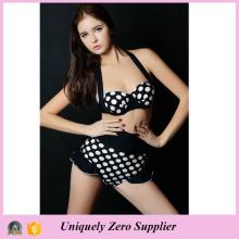 2016 Hot Sale Sexy Women Black Background White Dots Prints Tankini Bikini avec pantalons taille haute