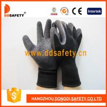 Black Latex Coating Glove Brushed Lining Safety Working Gloves Dkl339