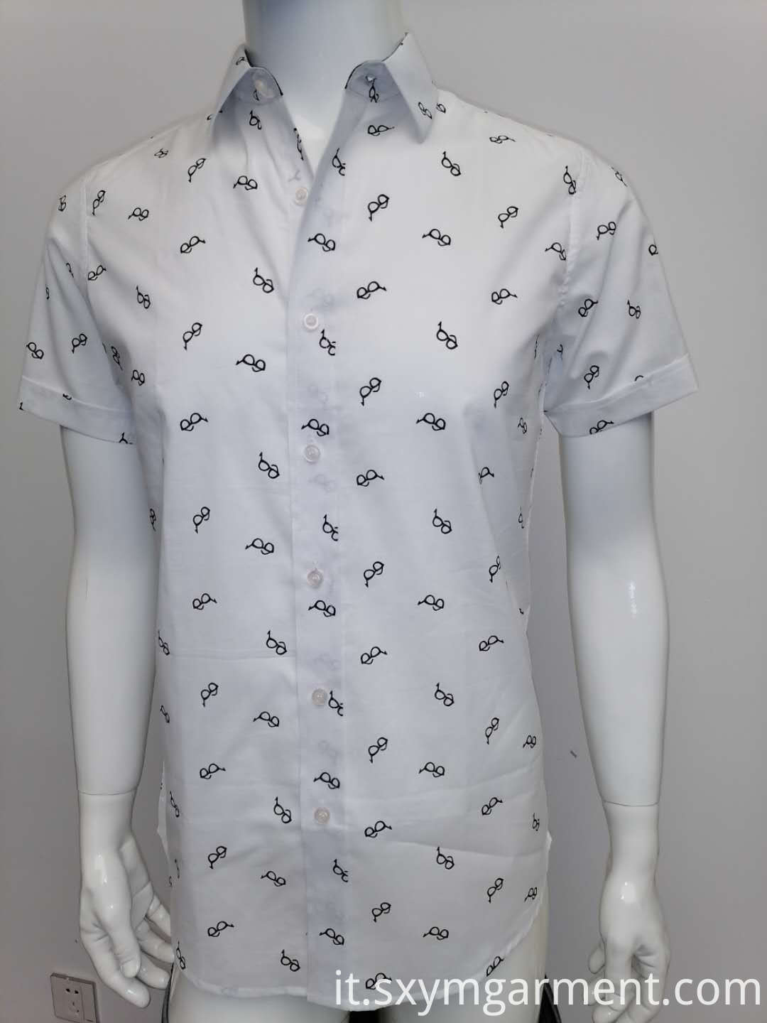 Mens cotton voile print shirt