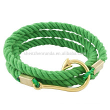 Wholesale Fashion Men Stainless Steel Gold Fish Hook Accessories with Sailor Anchor Rope Bracelets Jewelry
