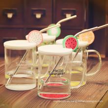 Taza de cristal de alta calidad libre de la fruta de la botella de agua del BPA con las tapas y la paja