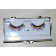 2016 hot design two color human hair false fake fashion eyelashes enhance with glue kits