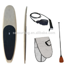 2018 hot!!!!! High quality fiberglass bamboo veneer sandwich paddle board/wooden SUP paddle board
