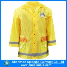 Atacado de desenhos animados Hi Vis amarelo Raincoats para crianças escolares