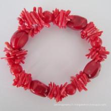 Bracelet élastique à corail rouge, bijoux (BR121028)
