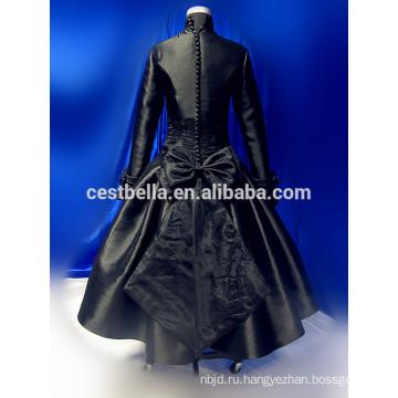Длинный рукав серый арабский свадьба платье мусульманский хиджаб свадебное платье