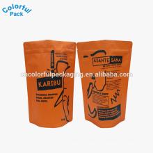 Saco de café por atacado com válvula de sentido único / selo de reforço lateral / folha de alumínio saco de plástico 340g / ziplock sacos de feijão de café