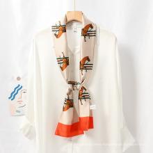 Custom Logo Digital Print Silk Scarf for Garment, Soft Scarf for Autumn, Soft Shawl for Woman