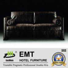 Conjunto de sofá preto mais nobre Sofá de hotel de alta categoria (EMT-SF37)