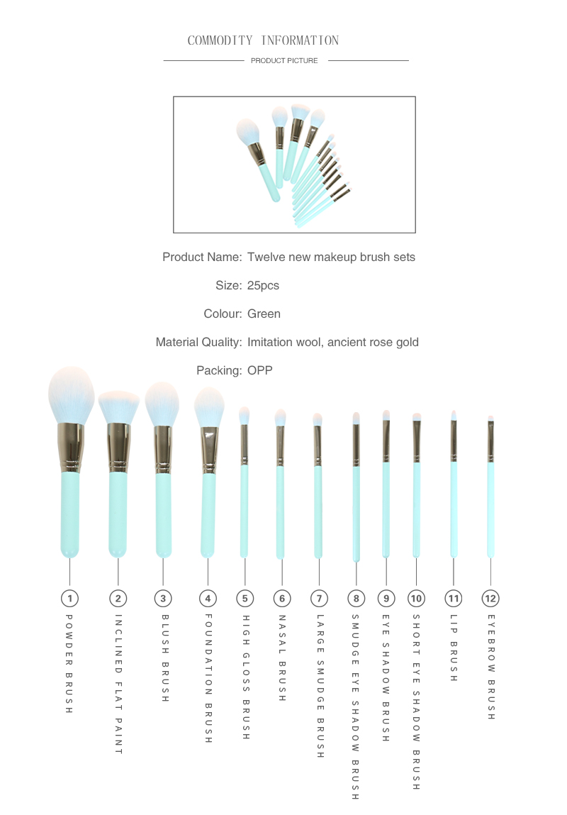 12 Piece Green Makeup Brushes Set 2