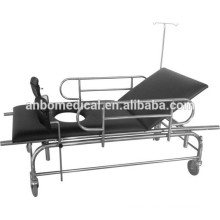 Stainless steel stretcher trolley with I.V pole for ambulance and knee support