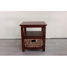 Antique Water Hyacinth Wicker y Acacia Marco de madera Gabinete de interior
