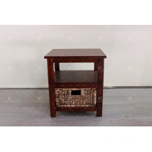 Antique Water Hyacinth Wicker and Acacia Wooden Frame Indoor Cabinet