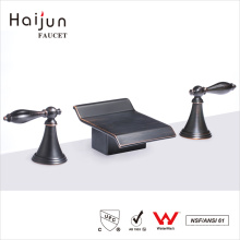 Haijun Cheap Prices cUpc Certificates Oil Rubbed Dual Handle Deck Mount Basin Faucet