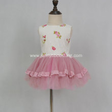 New design twill fabric pink mesh princess dress