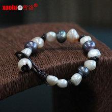 Bracelete de pérolas de água doce barroca natural de couro genuíno de moda (E150057)