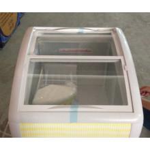 congelador de puerta corredera curva mini congelador de helado barato