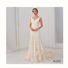 Hot wholesale deep V-neck lace backless applique beads mermaid sexy gown beading wedding dress sample