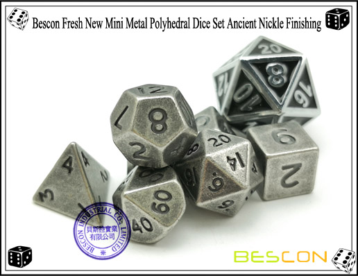 Bescon Fresh New Mini Metal Polyhedral Dice Set Ancient Nickle Finishing-6