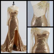 Un hombro de manga larga de oro cequis vestido de noche Ver a través de espalda alto Split vestido de noche