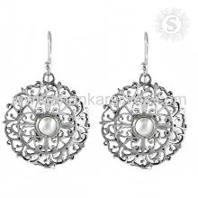 Pendiente de piedras preciosas de perlas de la India 925 de plata de ley Joyas al por mayor de joyería de plata en línea hecho a mano