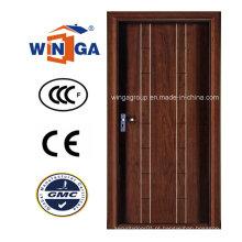Porta blindada de chapa de madeira MDF de aço inoxidável de segurança de design simples (W-A18)