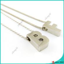 Lettres de collier de charmes de glissière simple argent (FN16041814)