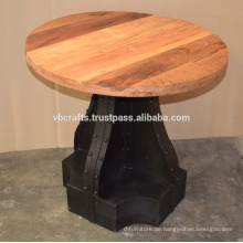 Industrial Metal Riveted Base Recycling Holz Top Tisch