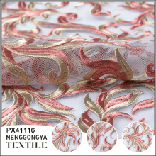 High quality soft mesh allover lace fabric with embroidery