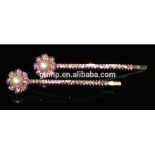 Art- und Weisemetallblumenentwurfs-bunter Rhinestone-Bobbystift Kristallbarrettes