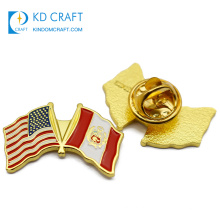 Best selling products in USA custom metal enamel friendship cross country national flag pin badge with colorful pattern