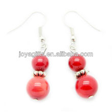 Red coral with silver hook earring