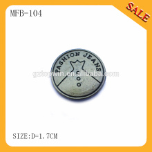 MFB104 Antique brass custom logo engraved metal jeans button for jackets