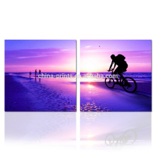 Schöne Seascape Malerei 2 Panels / Sonnenaufgang auf Sea Wall Art / Home Decor Artwork