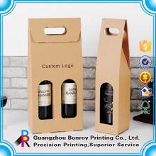 Caixa de empacotamento de papel barata lustrosa colorida feita sob encomenda quente do vinho da venda com janela