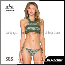Halter High Neck Striped Knitted Girls Swimwear