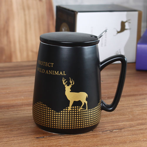 Black deer coffee mug