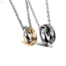 Wholesale jewelry suppliers twisted rings gold plated stainless steel pendant necklace