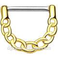 316L de acero quirúrgico sexo gay pezón de perforación del eje de oro IP sobre el cuerpo de latón vinculado cadena de diseño Clicker pezón anillos