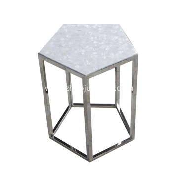 CANOSA Chinese Seashell  Tea Table with Stainless Steel Pentagon