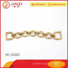 Accesorios al por mayor del bolso del metal, cadena del metal del oro para la decoración del bolso
