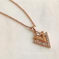 Crystal Jewelry V Shape Triangle Pendant Geometric Unisex Necklace