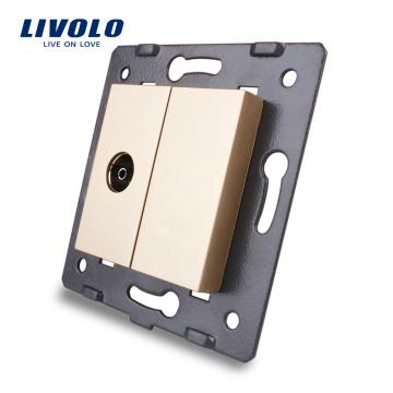 Livolo Gold Crystal Glass Panel C7-1V-13 Wall TV Socket Outlet Electric Plug