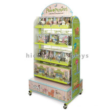 New Double Sided Retail Store Movable Wooden Floor Standing Video Game Gift Bag Toy Display Stand