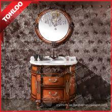 Gabinete de vanidad de baño de madera de gama alta con espejo de plata de 5 mm