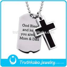 Moda joyería del animal doméstico etiqueta de plata amuleto biblia familia joyería colgante Jesús mayorista oración cruz religiosa colgante joyería