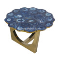 CANOSA Bule agate coverd table basse d'or inox